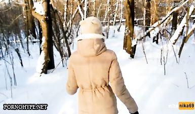 Экстримальный минет на улице на морозе -30