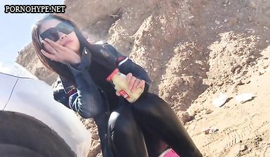 Молодая пара из Мексики записывает приватное видео с окончанием в рот на природе