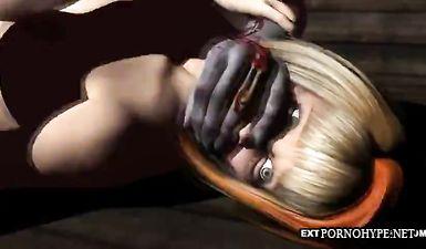 В мультфильме зомби сделал телке куннилингус и потрахал в киску на улице