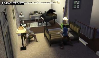 Куколд смотрит на измену жены с негром в стиле игры Sims